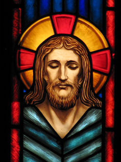 Stained glass head of Christ
